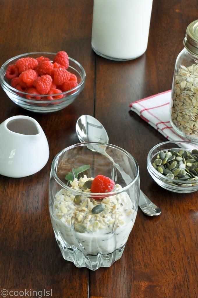 overnight, chia, oats, raspberries