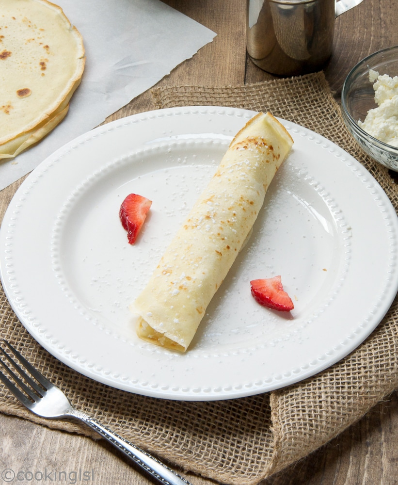 Cream, and,Cottage,Cheese,Filled,Crepes