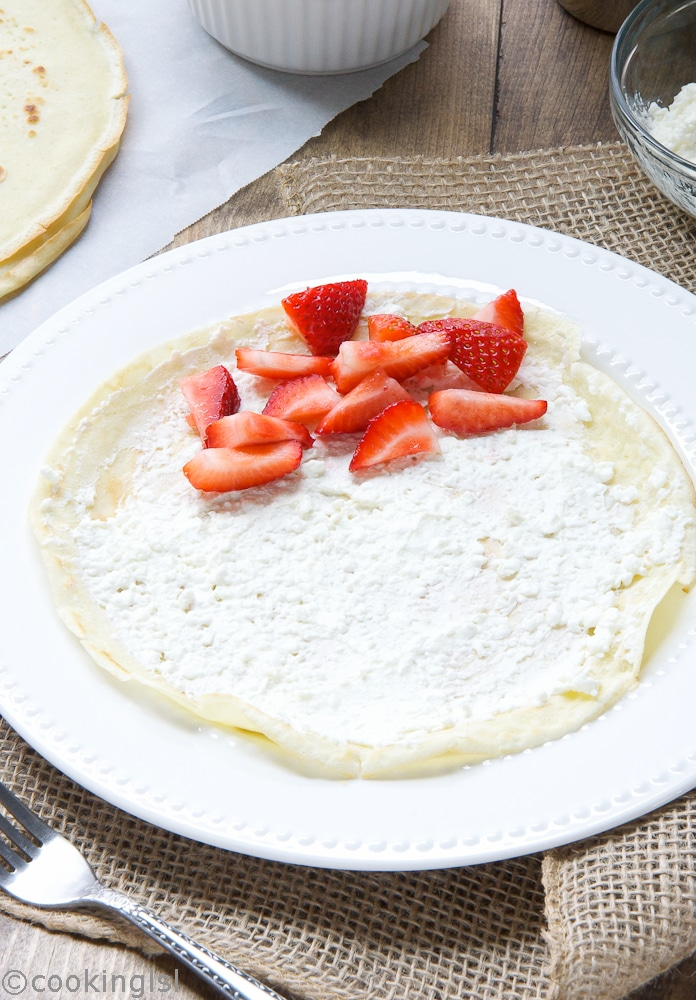 Cream, and, Cottage, Cheese, Filled, Crepes