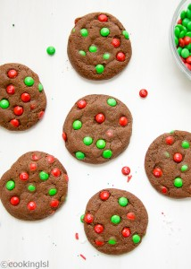 Easy christmas M&M chocolate cookies