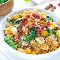 Quinoa With Butternut Squash Spinach And Cranberries