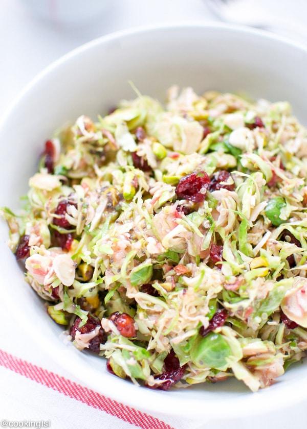 Brussels Sprouts Salad Cranberry orange Vinaigrette