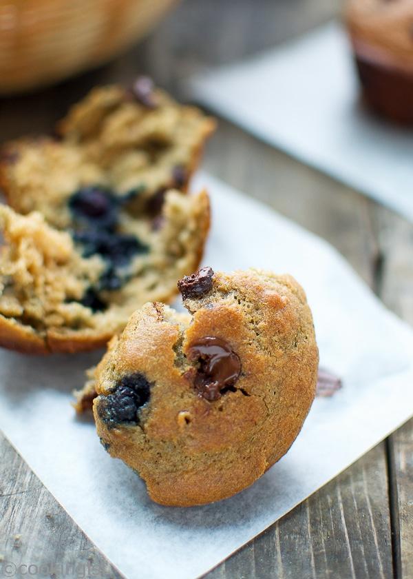 Chocolate Banana Blueberry Muffins