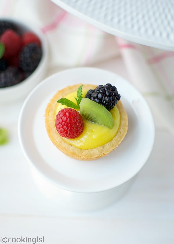 lemon curd filled mini tarts with berries