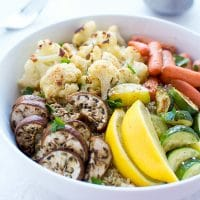 Roasted Vegetable Quinoa Bowls Cauliflower Zucchini Carrots Eggplant