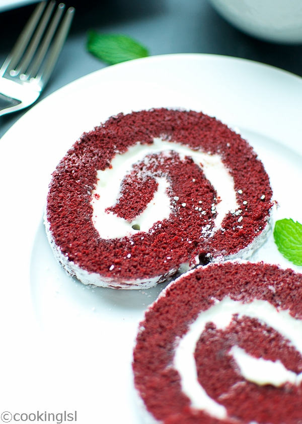 Red Velvet Cake Roll With Cream Cheese Filling Easy Cool