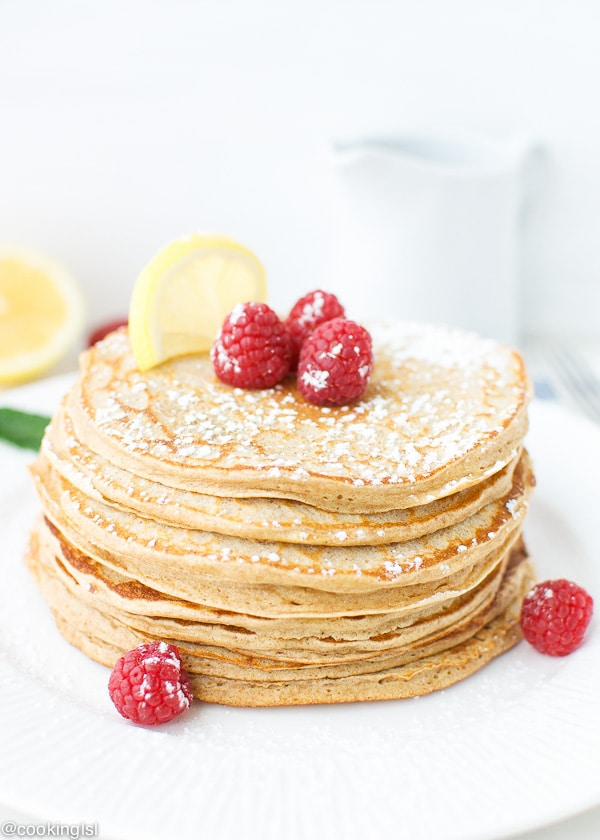 healthy-lemon-curd-whole-wheat-pancakes-cottage-cheese-maple syrup-raspberries