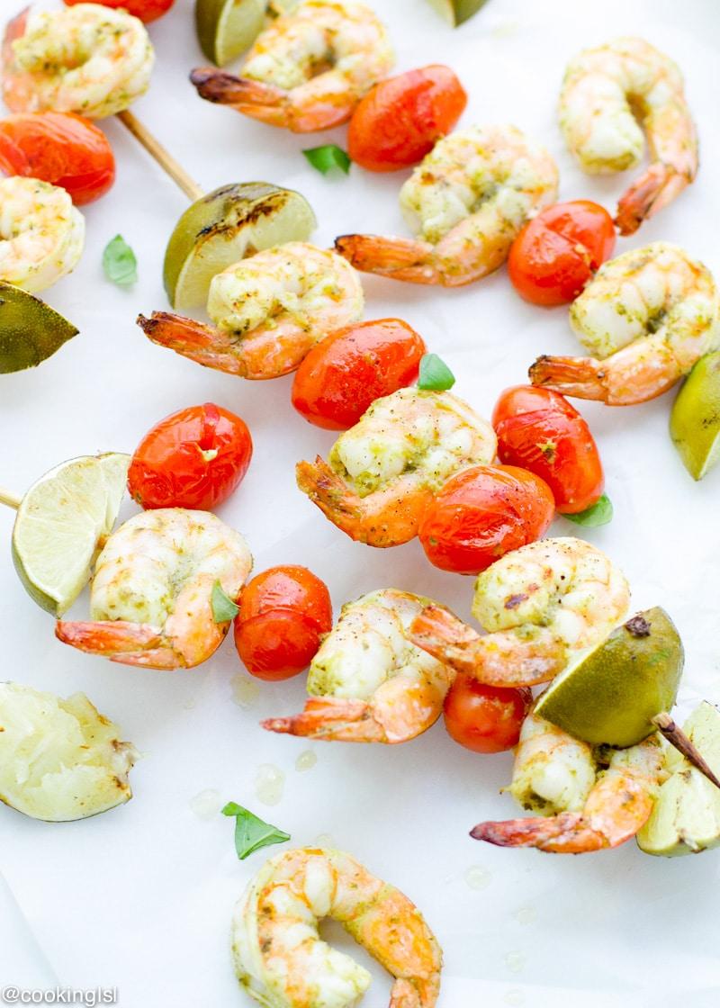Grilled Pesto Marinated Shrimp Skewers
