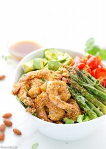 Almond-Sriracha-Crusted-Shrimp-salad-avocado-asparagus-lime-dressing