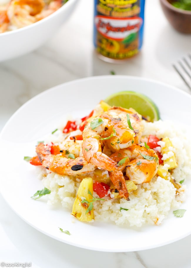 Caribbean-spicy-grilled-shrimp-cauliflower-rice-pineapple-el-yucateco