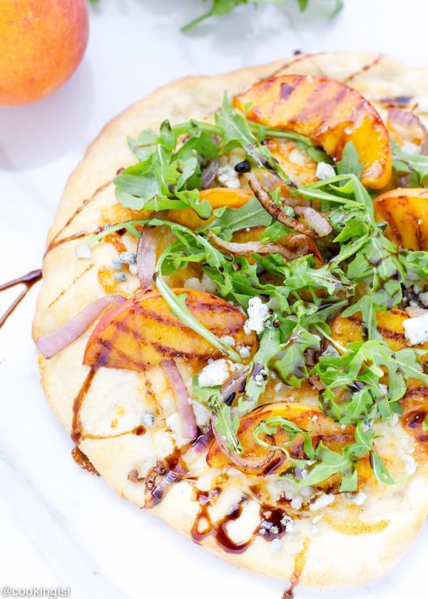 grilled-peach-arugula-blue-cheese-pizza