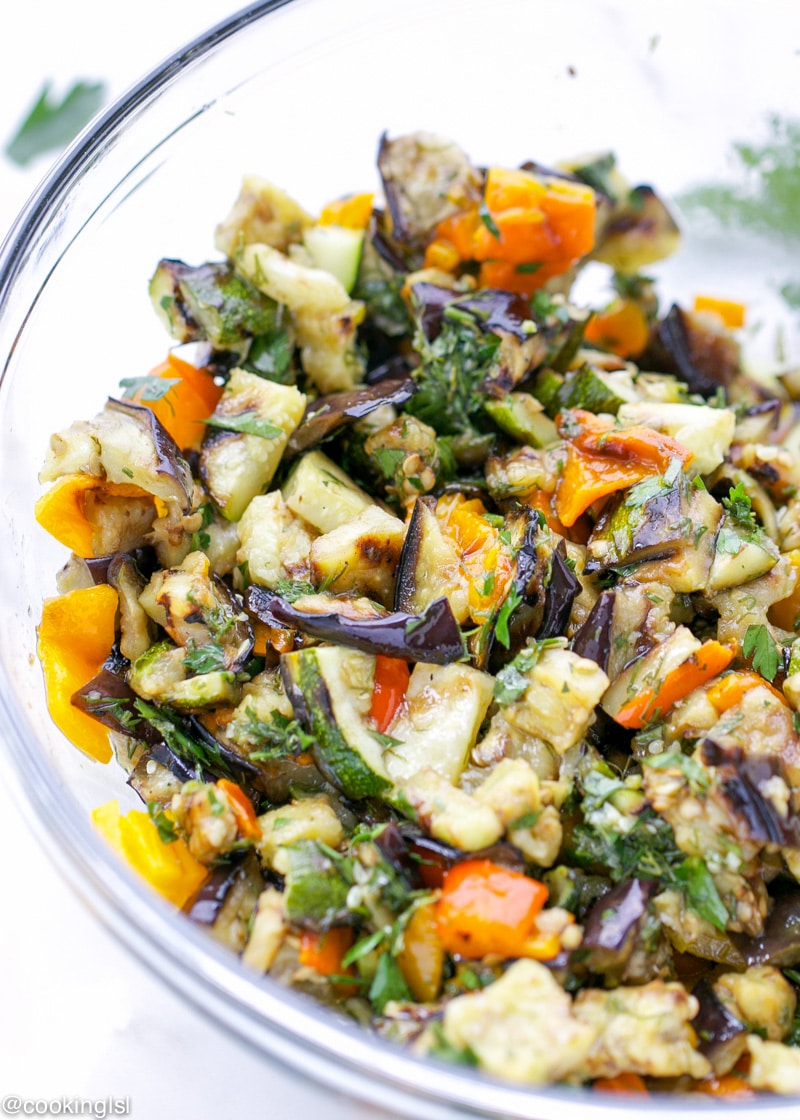 Grilled Eggplant Zucchini and Peppers Salad. Quick and simple to make ...