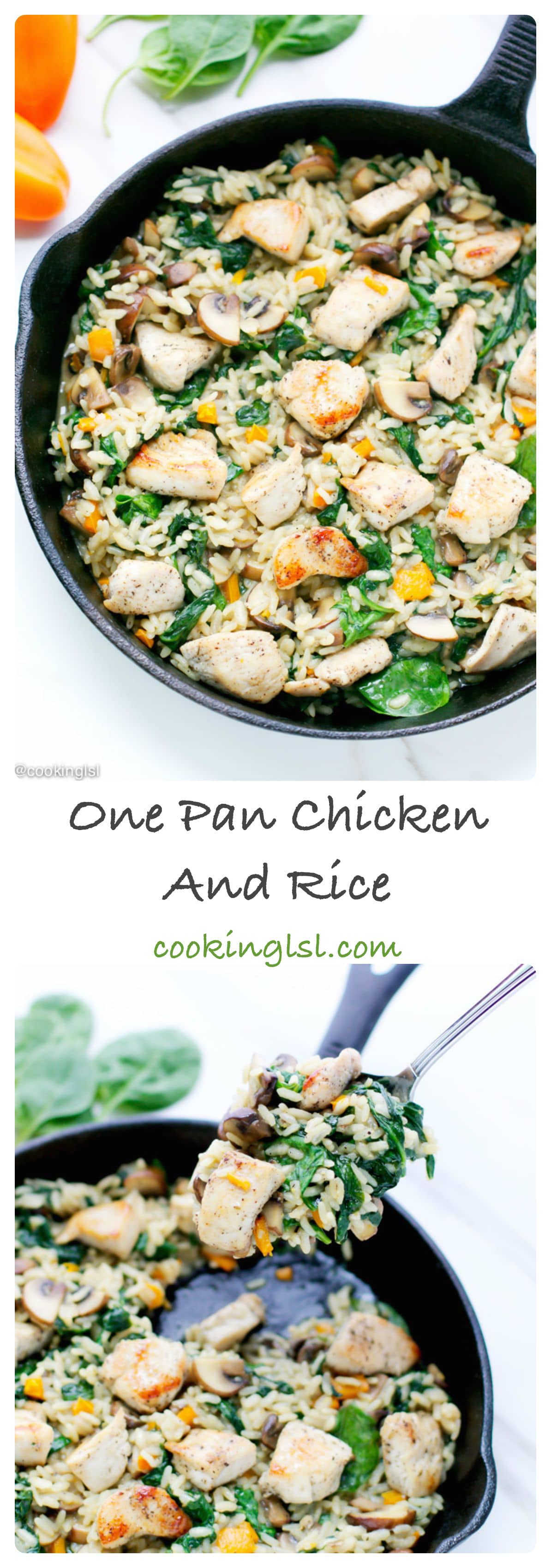 one-pan-chicken-and-rice-spinach-mushrooms-easy-dinner-fall-recipe