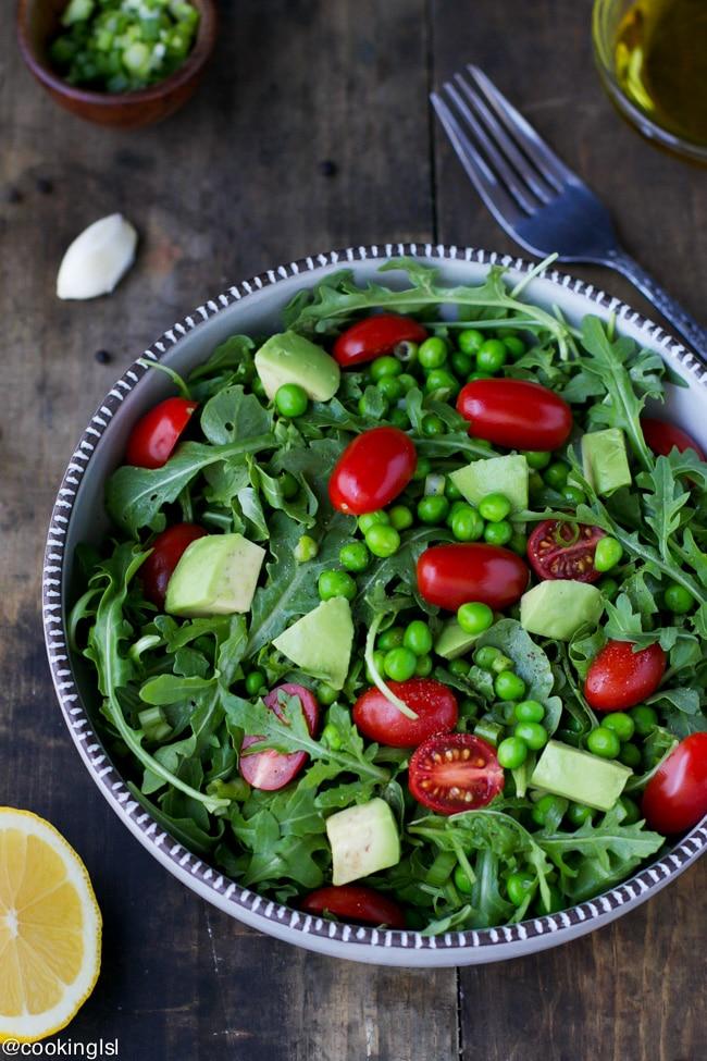 arugula-pea-avocado-tomato-salad