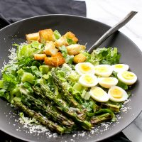 asparagus-quail-eggs-caesar-salad-homemade-dressing