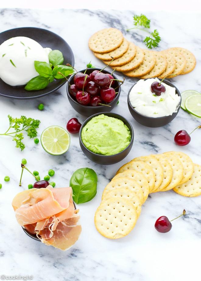 sweet-pea-hummus-bites-cherry-cheesecake-dare-crackers