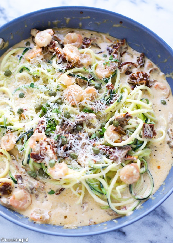 Zucchini Noodles With Creamy Sun-Dried Tomato Sauce And Shrimp