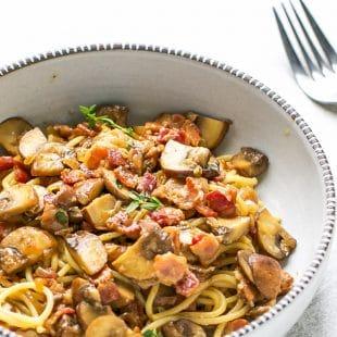 Balsamic-Mushroom-Bacon-Pasta-Recipe