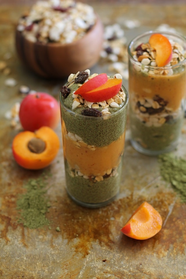 Matcha chia seed pudding and apricot smoothie parfaits