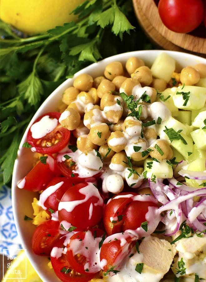 mediterranean chicken and chickpea bowls with yellow rice turmeric