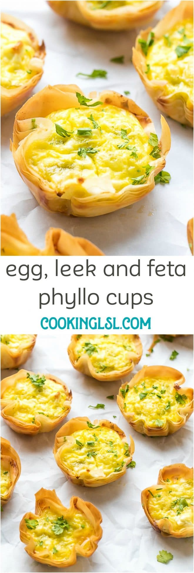 Egg, Leek and Feta Phyllo Cups Recipe. Perfect for breakfast, snack or an appetizer.