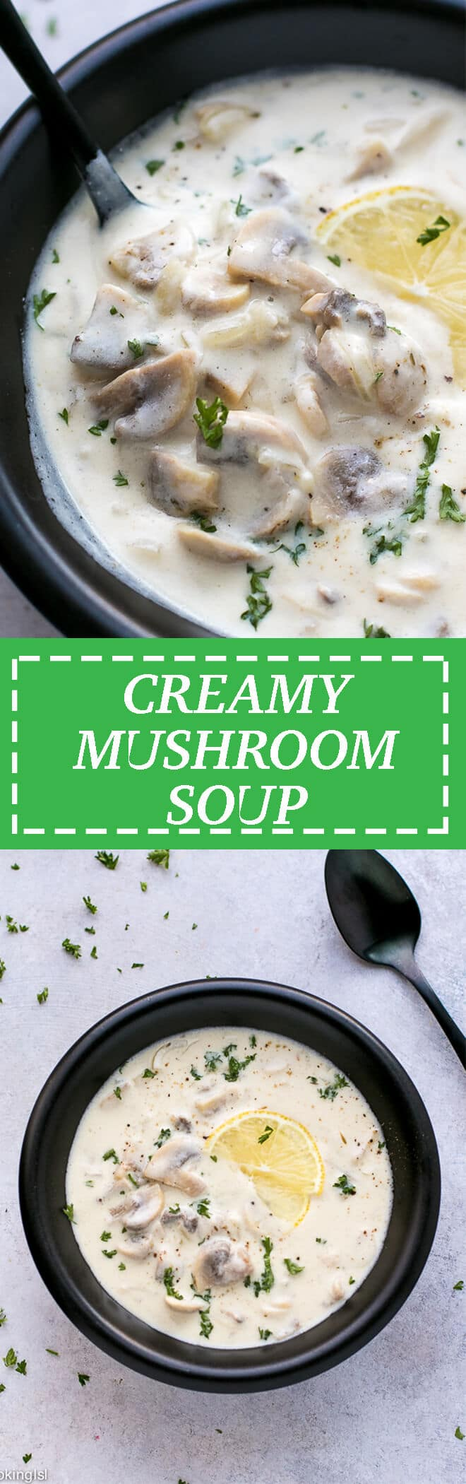 Creamy Mushroom Soup Recipe (Wolfgang Puck Copycat) - light, creamy, lemony, with tender slices of meaty mushroomy, sprinkled with fresh parsley. Easy to make, with just a few simple ingredients and ready in 30 minutes. #creamymushroomsoup #mushroomsoup #wolfgangpuck #wolfgangpuckmushroomsoup