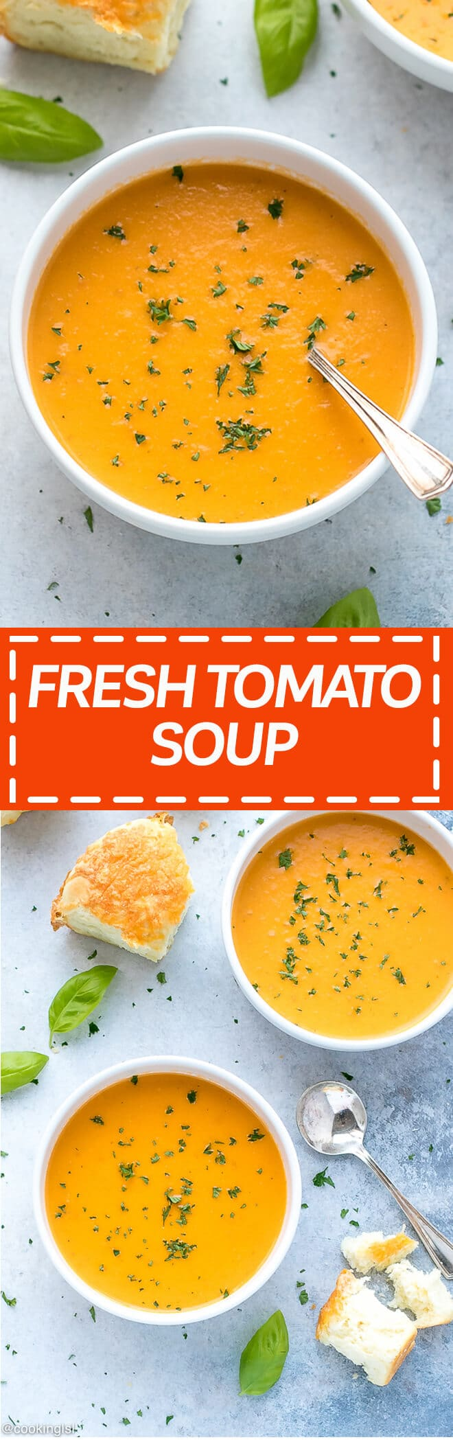 Fresh Tomato Basil Soup - quick and simple to make, made with fresh basil and tomatoes, great with a side of crusty bread or grilled cheese sandwiches.