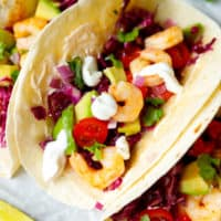 The best shrimp tacos on parchment paper