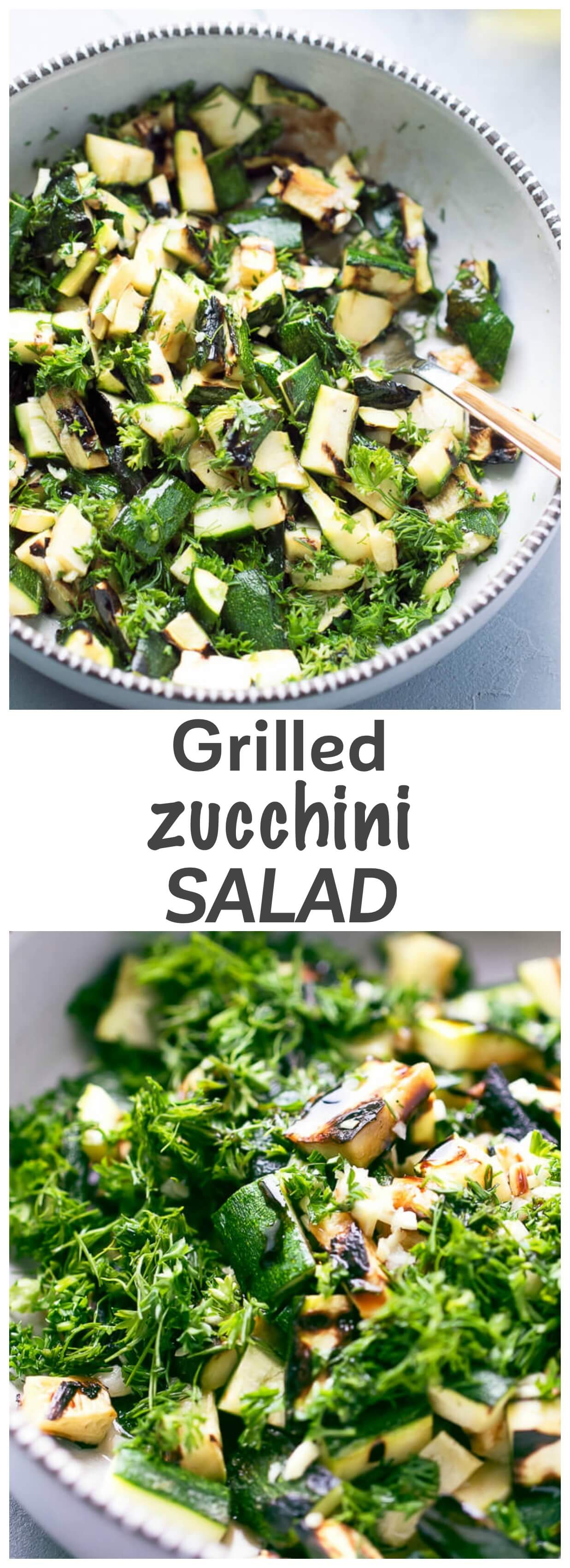 Grilled Zucchini Salad Recipe- zucchini sliced lengthwise, lightly charred, but still crunchy, chopped and served with simple, tangy and fresh dressing made of olive oil, vinegar, balsamic, salt, parsley and fresh dill.