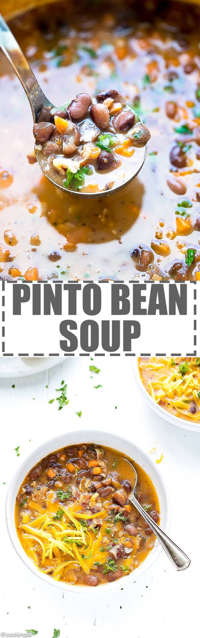 Pinto Bean Soup - chunky, hearty and flavorful, very simple to make and great for lunch or dinner. Adding bacon to this Pinto Bean Soup enhances the flavor and makes the soup super filling, so you can call it a meal.