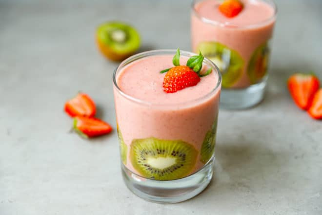 A glass with strawberry smoothie