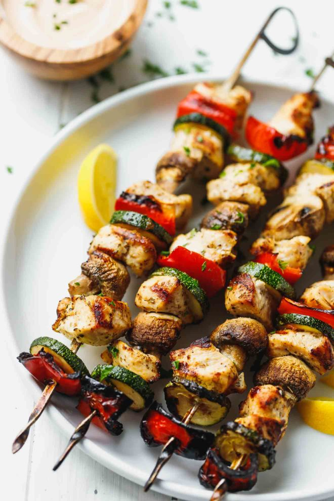 Chicken Kabobs With Mushrooms, Zucchini And Peppers