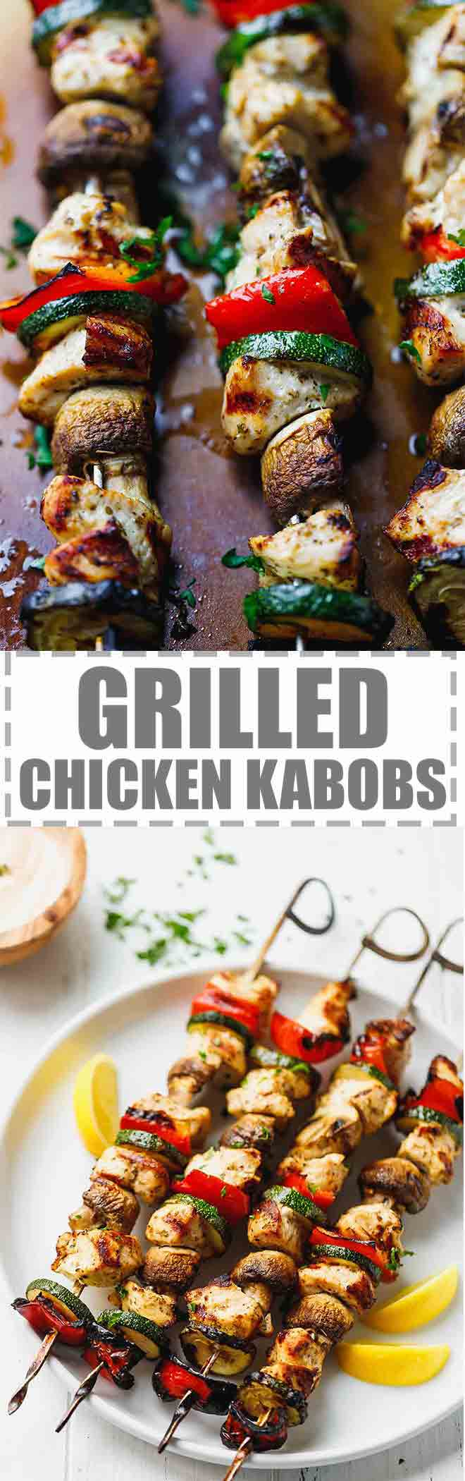 Grilled Chicken Kabobs With Mushrooms, Zucchini And Peppers - perfect for summer.