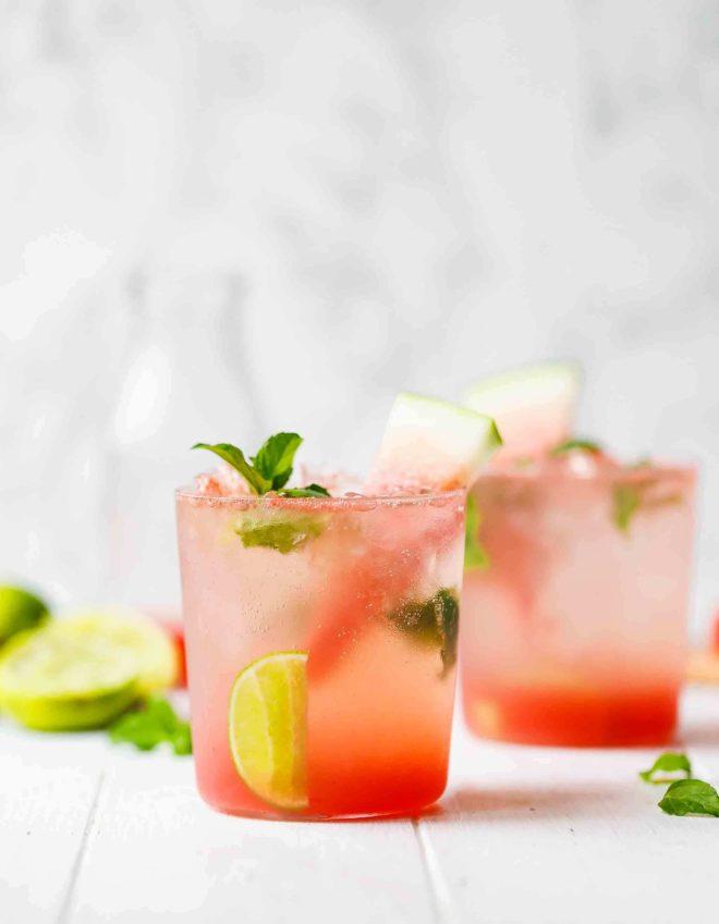 Watermelon Mojito Recipe IN LOWBALL GLASSES