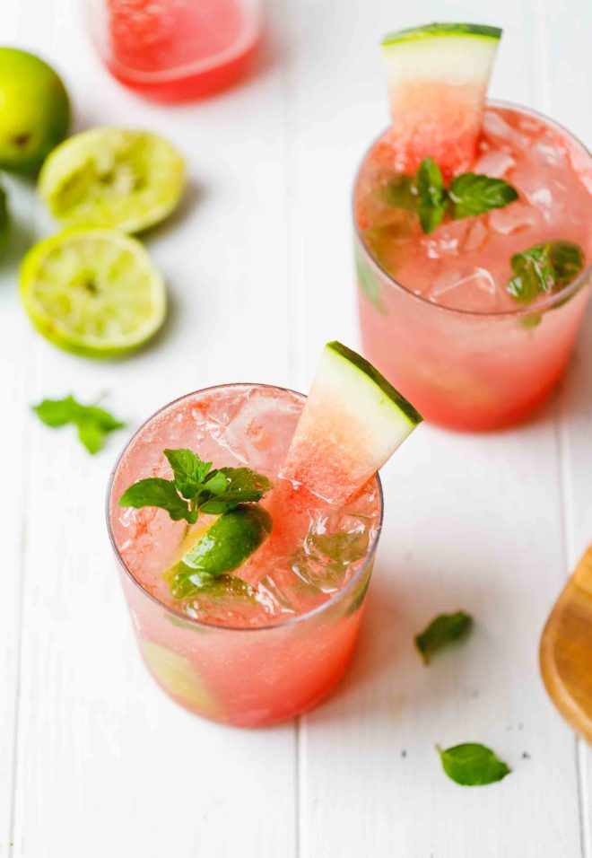 Watermelon Mojito Recipe IN GLASSES, OVERHEAD SHOT