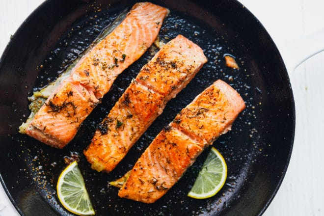 Seared salmon in a Staub pan