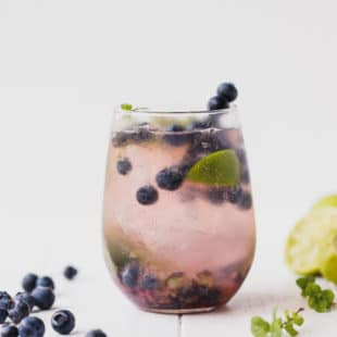 Blueberry Mojito in a clear glass