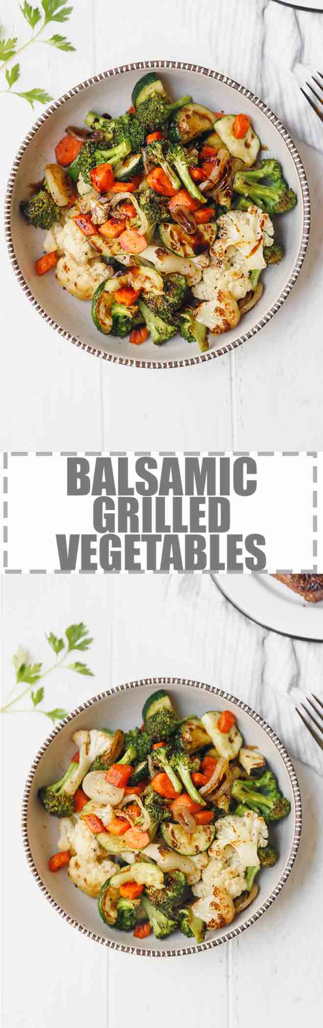 This simple side dish recipe for balsamic grilled vegetables is delicious and perfect for grilling season. #balsamic #grilling #grilledvegetables #grillingseason