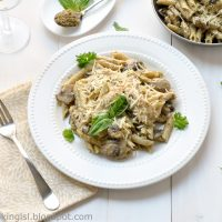 penne-pasta-with-chicken-mushrooms-and-pesto-sauce