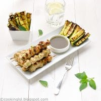 grilled pesto marinated mini chicken kebabs skewers