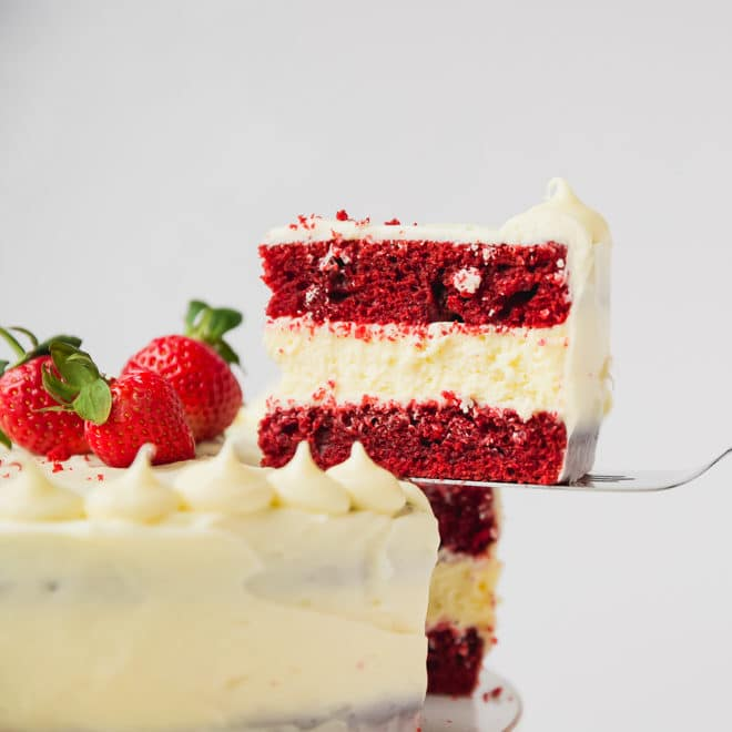 Red velvet cheesecake cake slice
