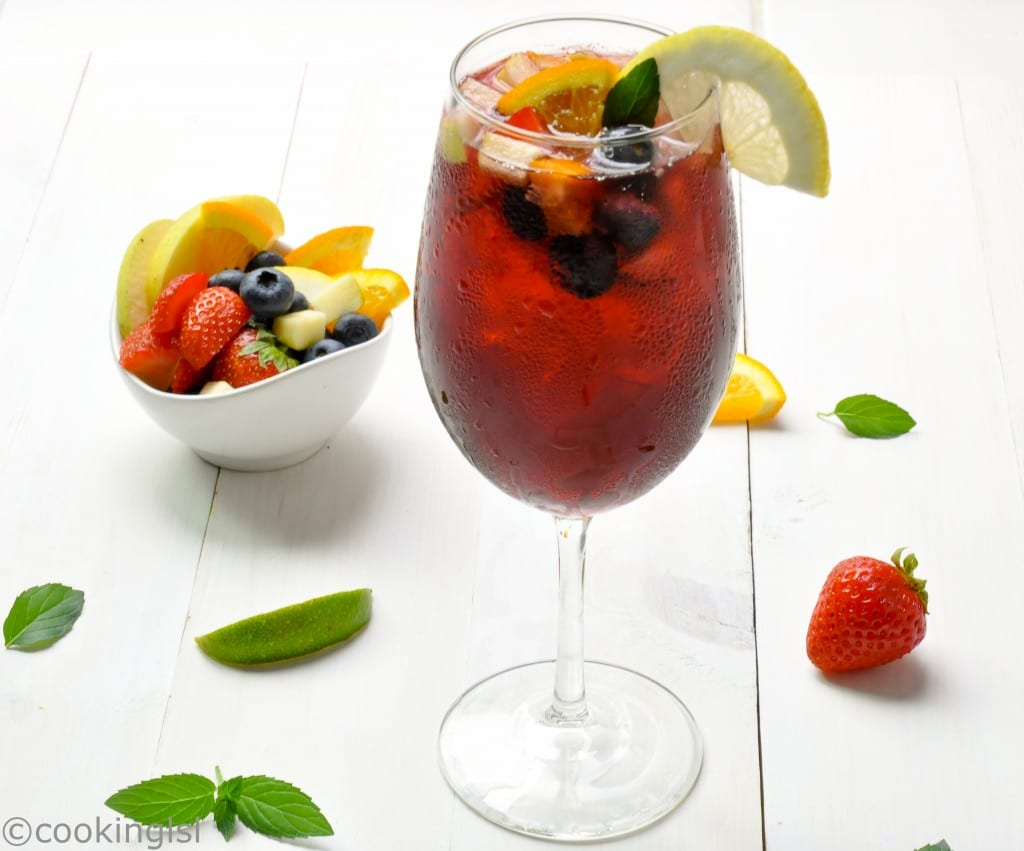 Fruity Red Wine Sangria in a wine glass