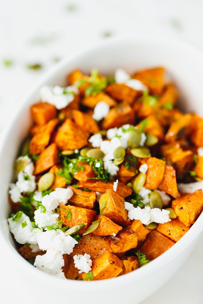 Roasted Sweet Potatoes With Feta Cheese And Pumpkin Seeds