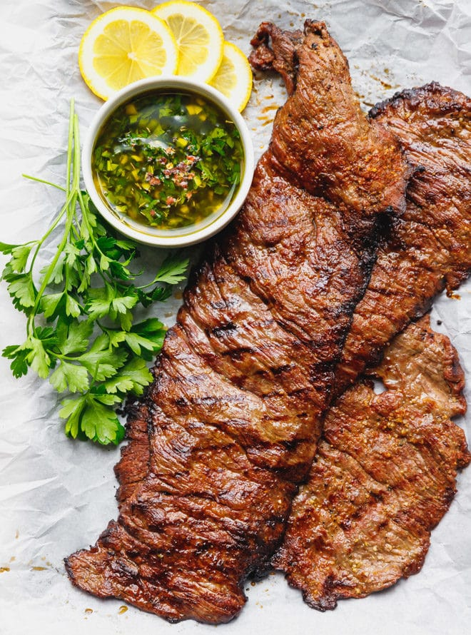 Grilled skirt steak on parchment paper