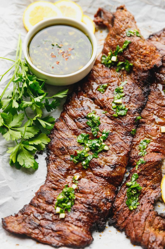 Grilled skirt steak topped with Chimichurri sauce