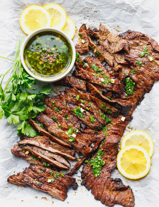 grilled skirt sweat cut across the grain and toped with chimichurri