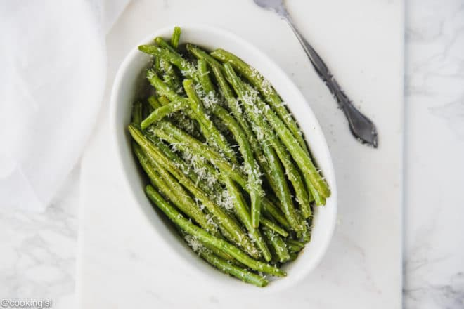 Oven Baked Green Beans With Parmesan Cheese