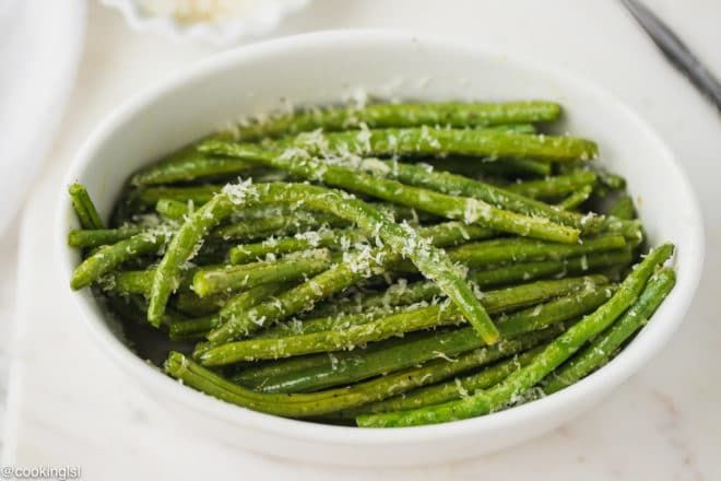 Baked Green Beans with parmesan in a bowl
