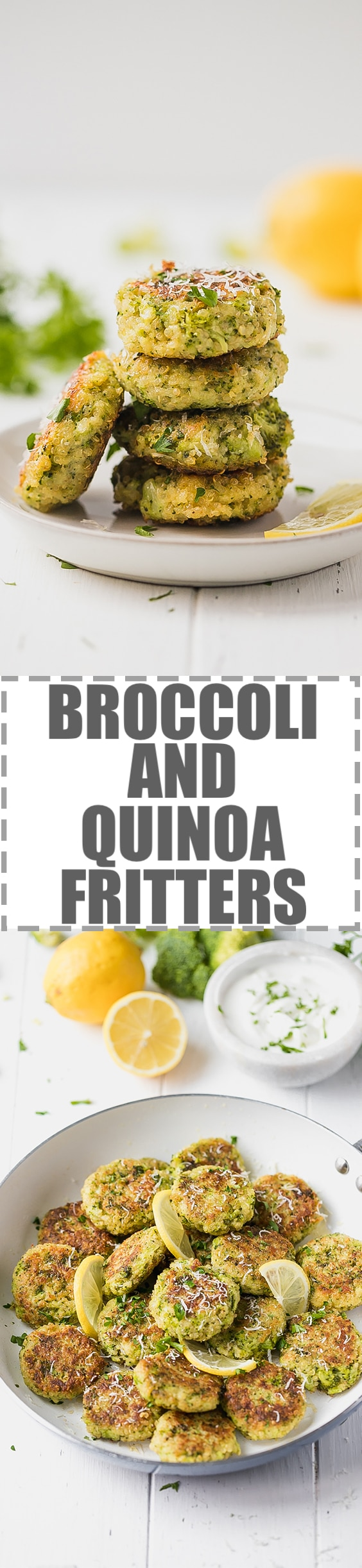 Crunchy, delicious and extremely easy to make broccoli and quinoa fritters, great for an appetizer or a light and simple vegetarian meal. #QUINOARECIPES #BROCCOLIFRITTERS #QUINOAFRITTERS