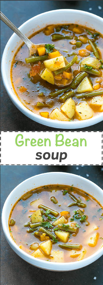 This colorful green bean soup is delicious for any time of the year. It is easy, budget friendly and clean. It is healthy and comforting, takes less that 45 minutesto cook and you can use fresh, frozen or even cannedgreen beans and tomatoes.